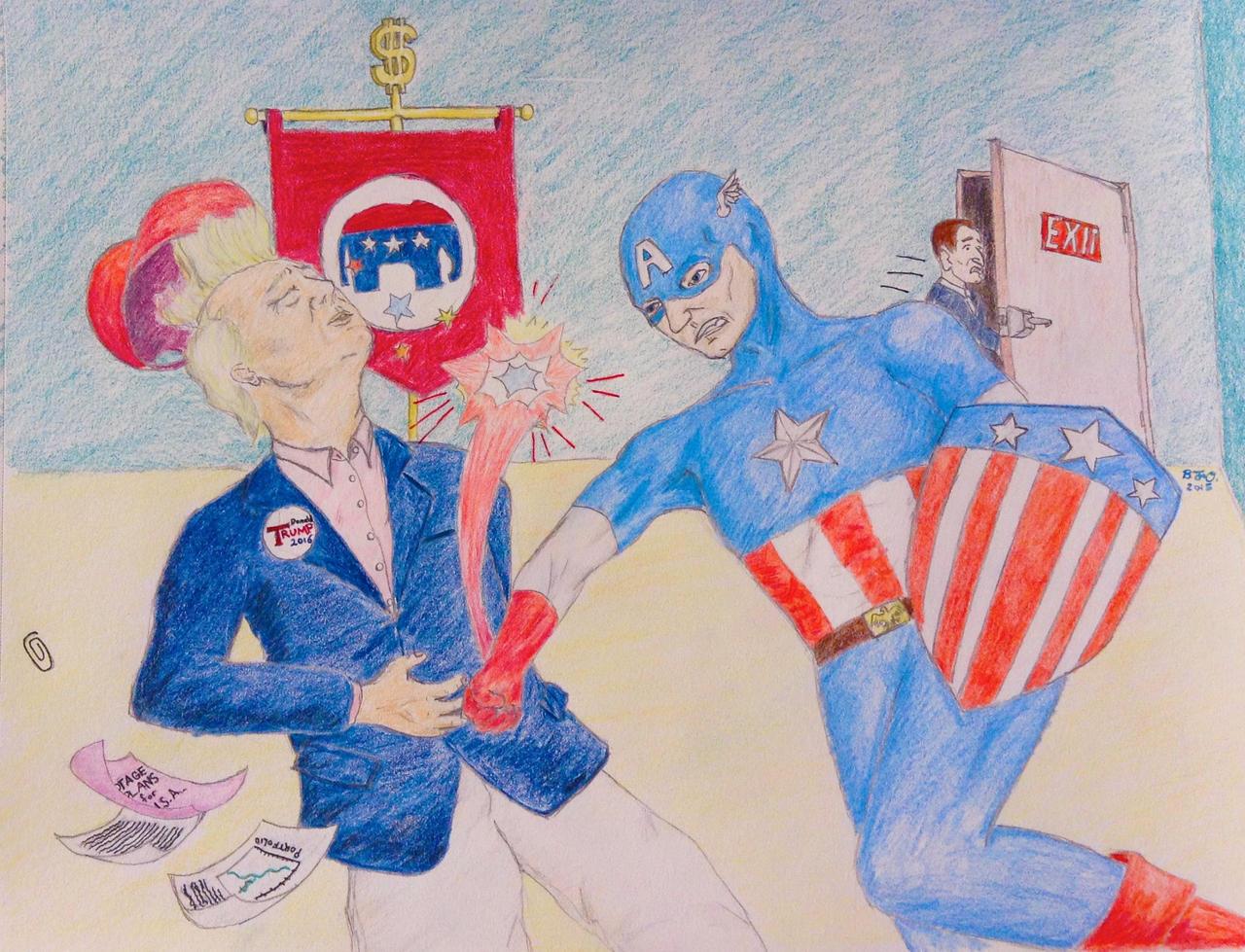 Captain America vs. Trump by BenjaminOssoff on DeviantArt