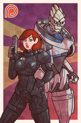 Shepard and Garrus - Mass Effect by Ruff-Sketches