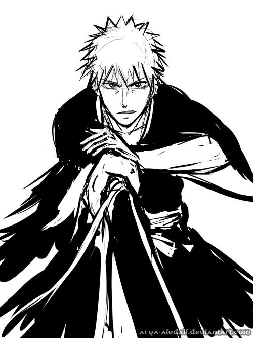 Ichigo fast sketch by Arya-Aiedail