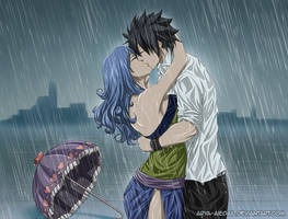 Kissing in the rain - Gruvia Fluff Fest 2015 by Arya-Aiedail