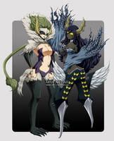 Kyoka and Sayla - Etherious form by Arya-Aiedail
