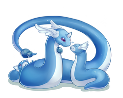 PokeddeXY - Dragonair and Dratini by oddsocket