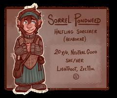 DnD - Sorrel Pondweed, Halfling Sorcerer-Witch