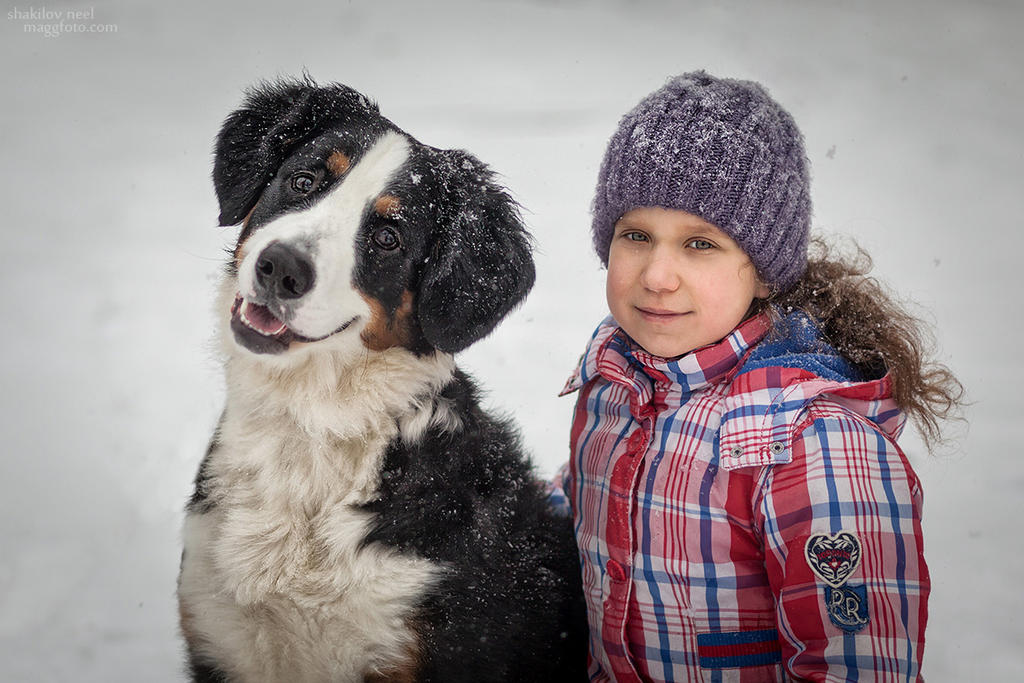 Maria and Bernese Mountain Dog by ShakilovNeel
