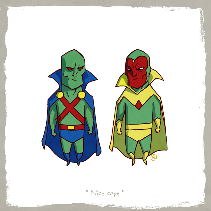 Little Friends - Martian Manhunter and Vision by darrenrawlings