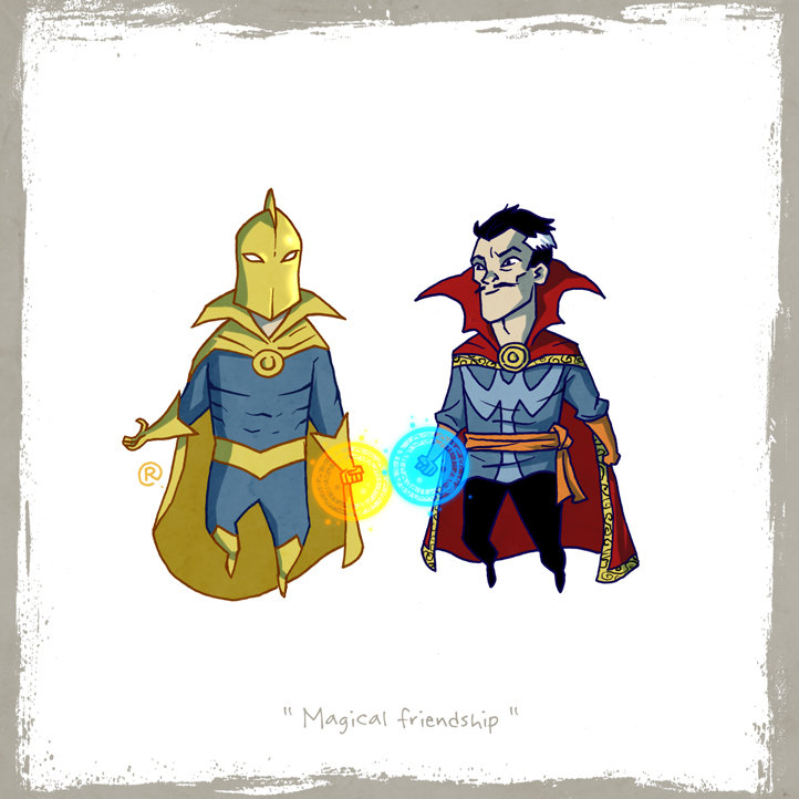 Little Friends - Dr.Fate and Dr.Strange by darrenrawlings