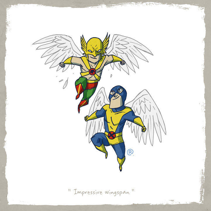 Little Friends - Hawkman and Angel by darrenrawlings