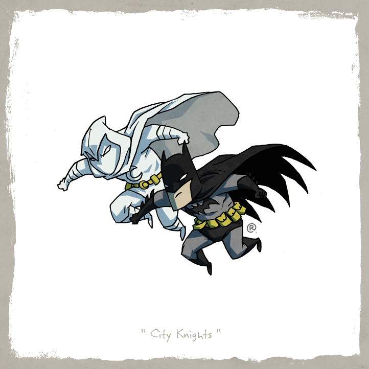 Little Friends - Moon Knight and Dark Knight by darrenrawlings
