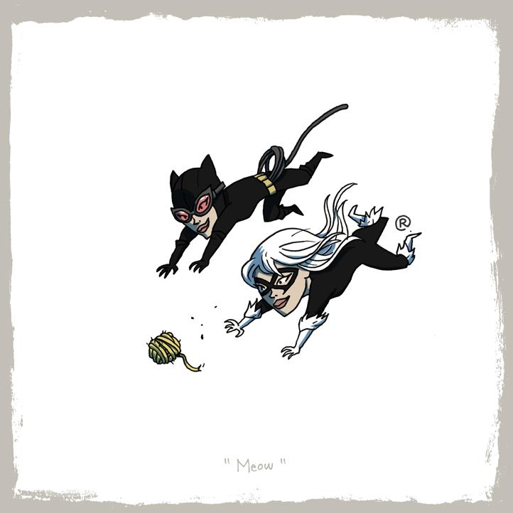 Siguen las imágenes bizarras y raras - edicion New 52- Little_friends___catwoman_and_black_cat_by_rawlsy-d621c12