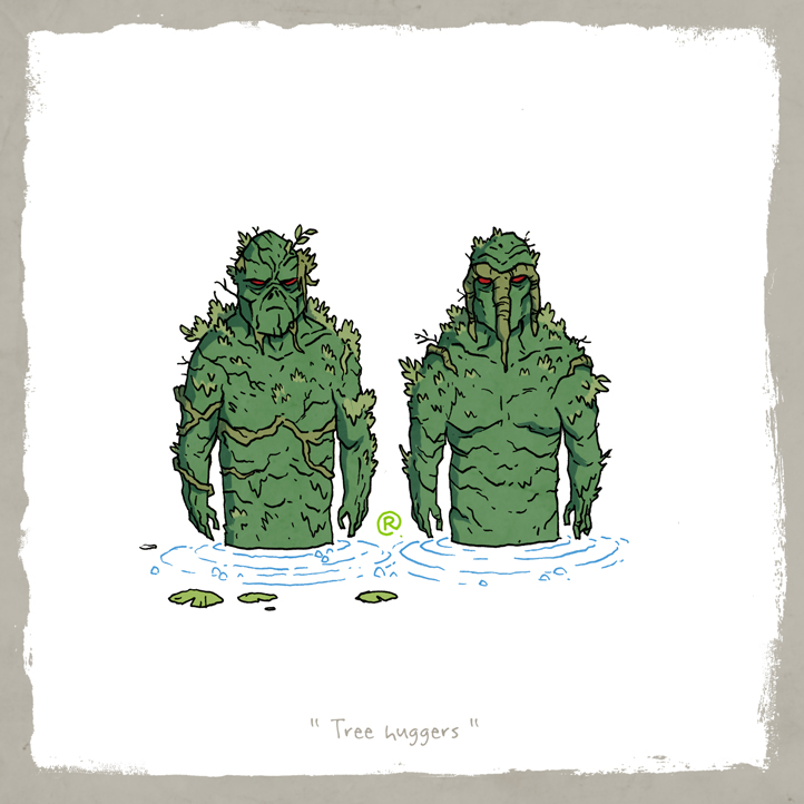 Little Friends - SwampThing and Man-Thing by darrenrawlings