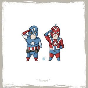 Little Friends-Captain America and Commander Steel