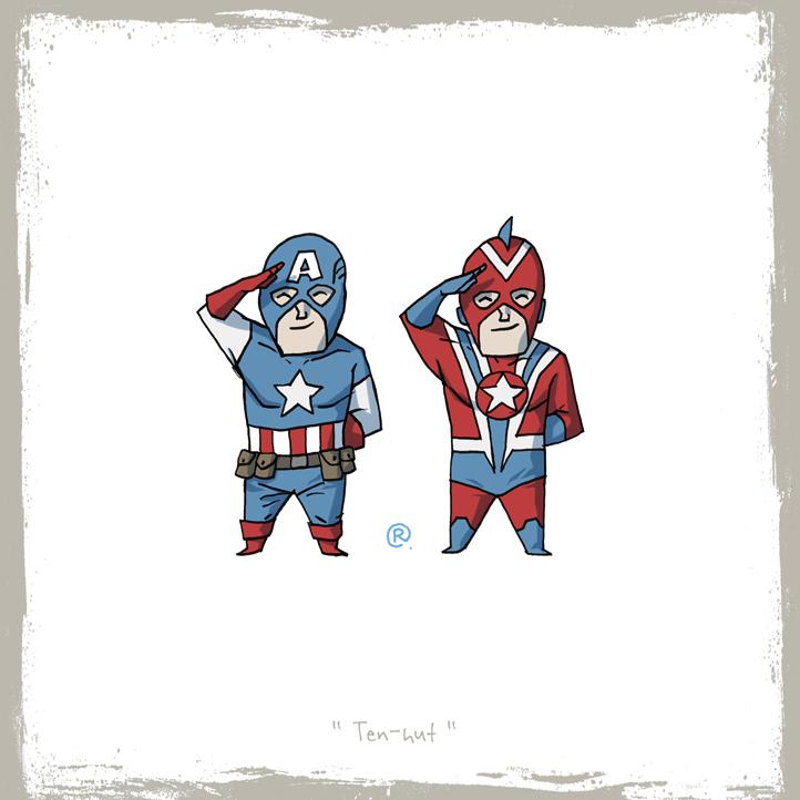 Siguen las imágenes bizarras y raras - edicion New 52- Little_friends_captain_america_and_commander_steel_by_rawlsy-d63lji3
