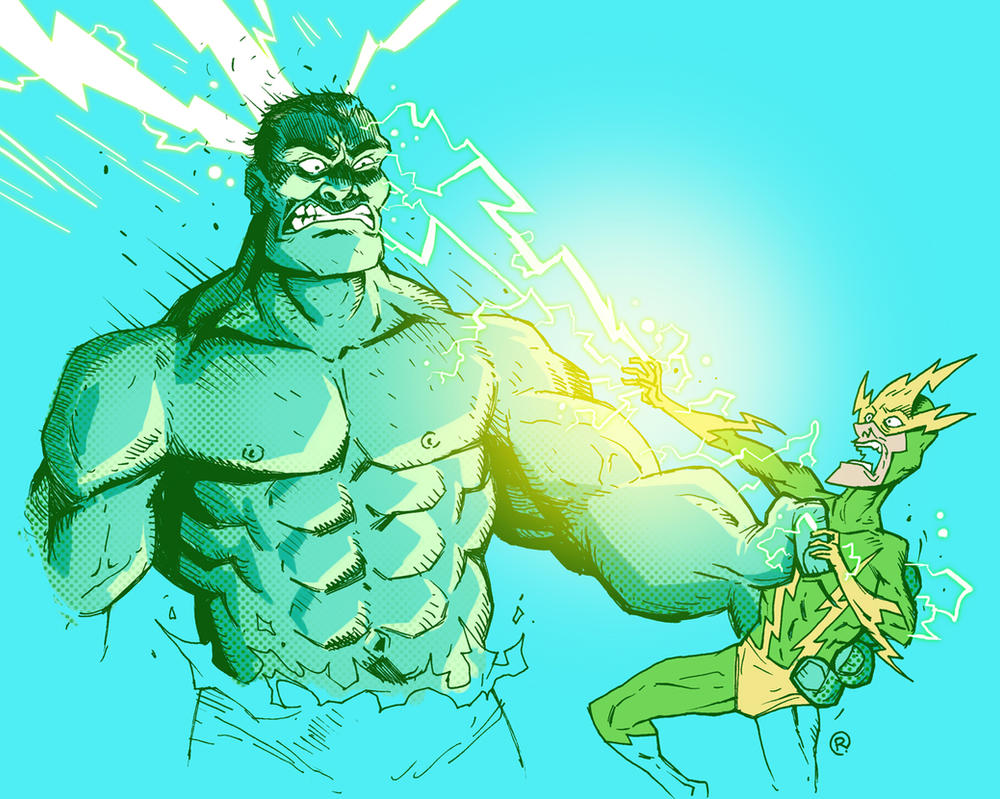 Hulk vs Electro by darrenrawlings