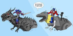 Transformers 4 - Optimus Prime Riding Grimlock