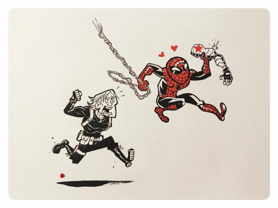 Spidey loves metal arms by darrenrawlings