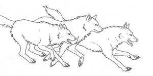 free wolf line art 2 by WhiteK9