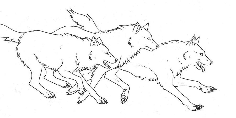 Wolf Lineart : Wolf pack lineart