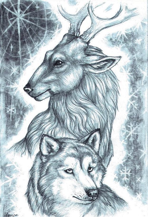 Reindeer and Malamute by WhiteK9
