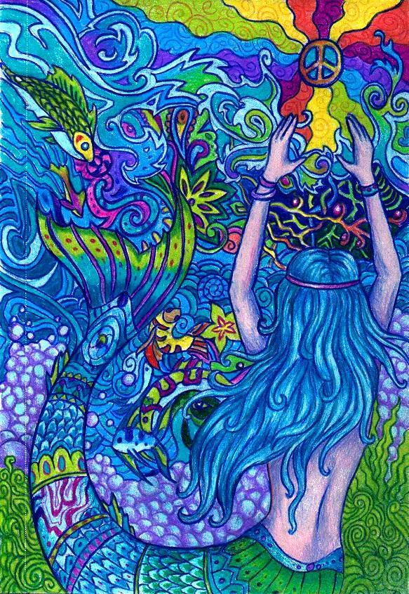 Psychedelic Mermaid by WhiteK9