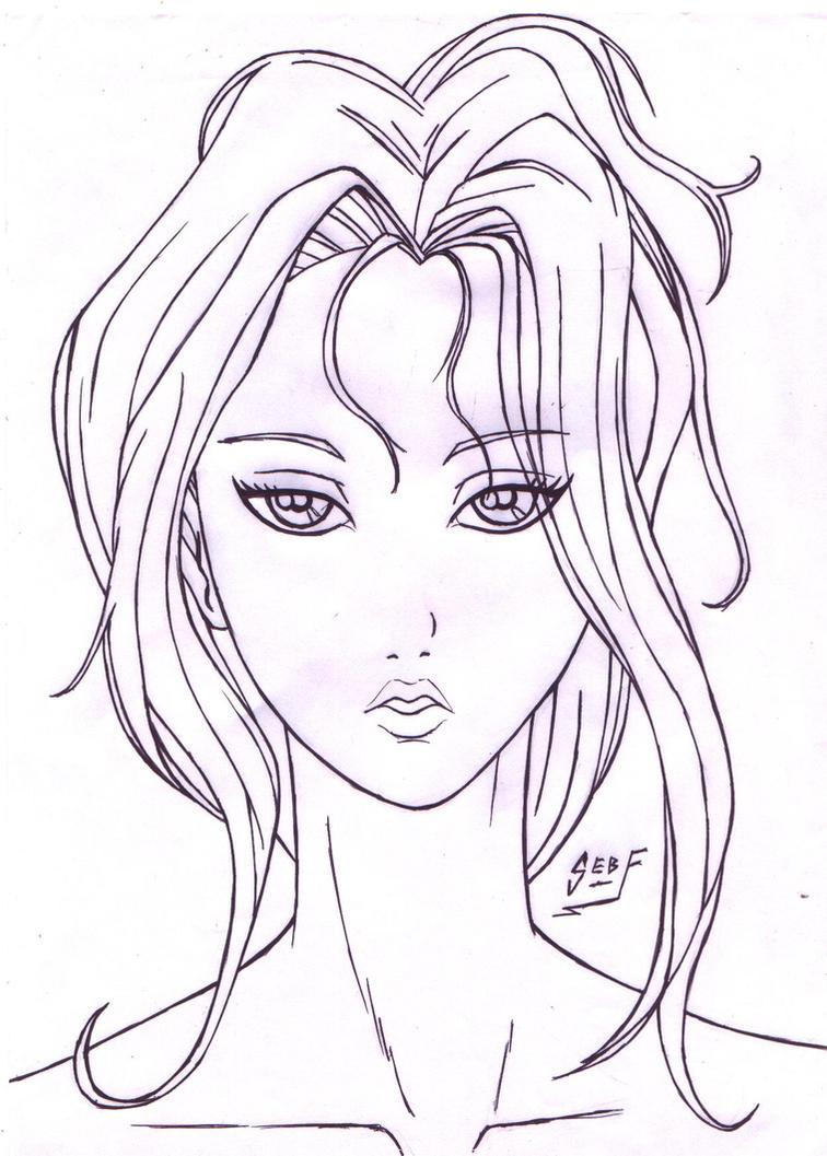 Girl Face Anime Style Lines By Foreverzerodragon On Deviantart