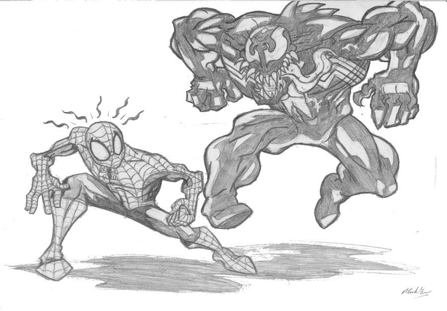Spiderman vs venom drawings for Spiderman vs venom coloring pages