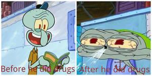 When Squidward does drugs comparison by DarkGelitan