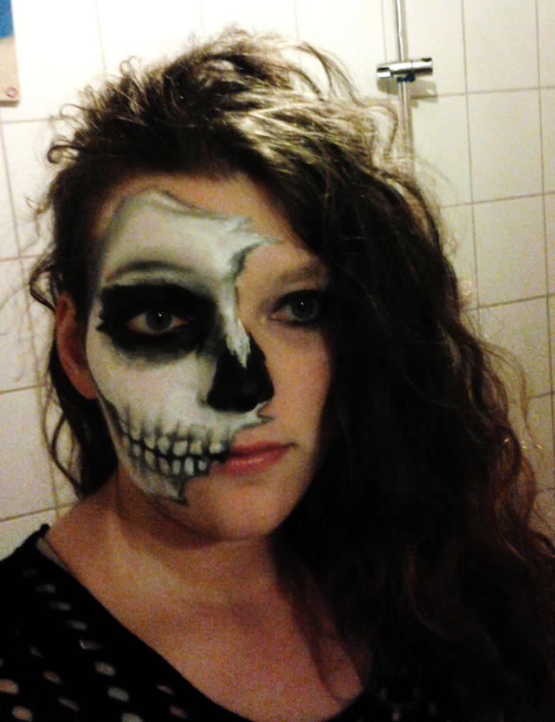 Half Skull Face Makeup by Sadako-26
