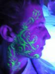 blacklight facial tattoo art