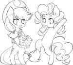 Applejack and Pinkie Pie chibi LineArt