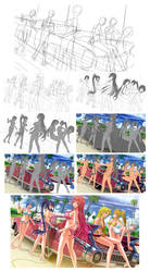 HighSchool DXD Illustration Process by S0mniaLuc1d0