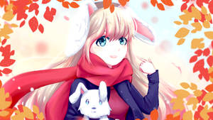 autumn anime girl wallpaper by amydrawart by AmyDrawArt
