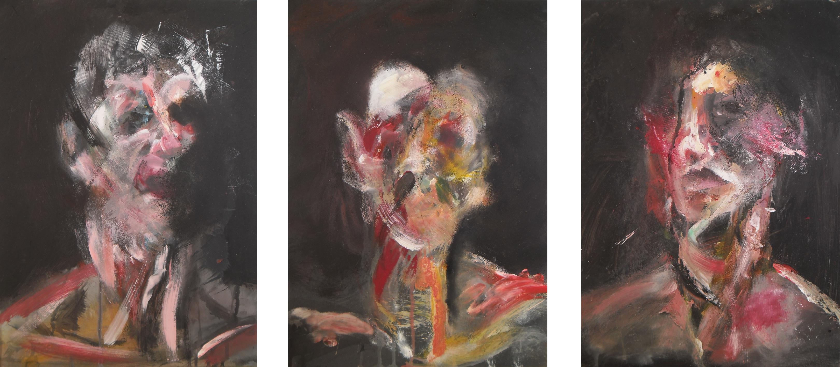 Three Studies for Self Portrait III (triptych) by RyckRudd