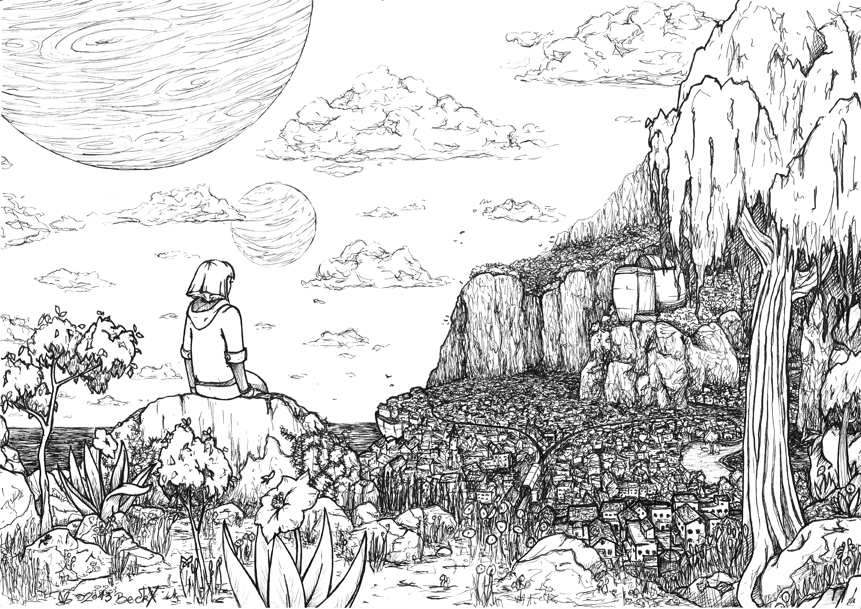 Line Drawing Landscape : Landscape lineart i did was told should post it here