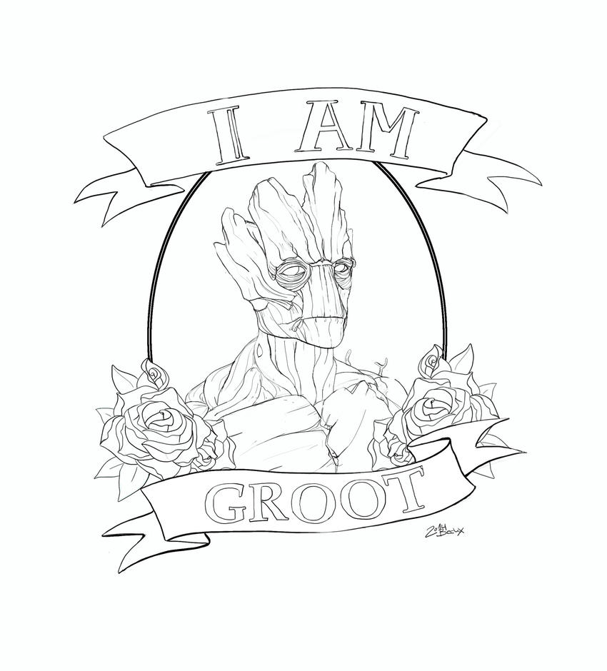 i am groot tattoo design commission lines by die beckx on deviantart. Black Bedroom Furniture Sets. Home Design Ideas