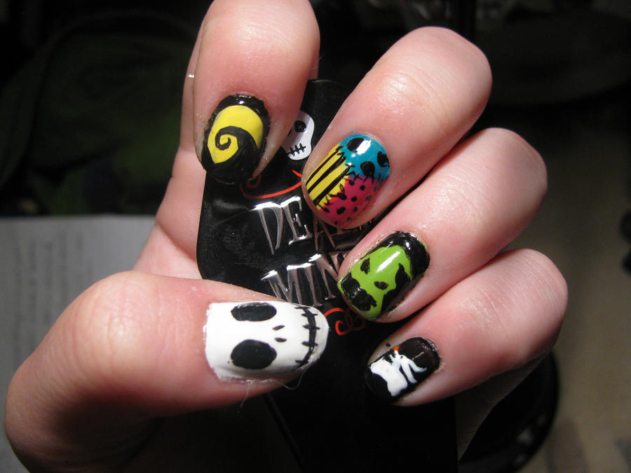 Nightmare Before Christmas Nails By Waterlily Gems On Deviantart