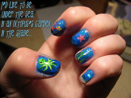 Week 22 Octopus's Garden nails by WaterLily-Gems