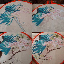 WIP Indian Peacock cross stitch by WaterLily-Gems