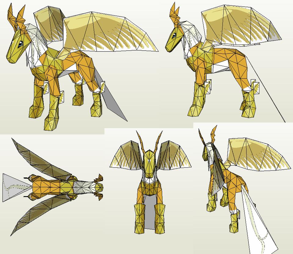 Papercraft - Pegasusmon by Jyxxie
