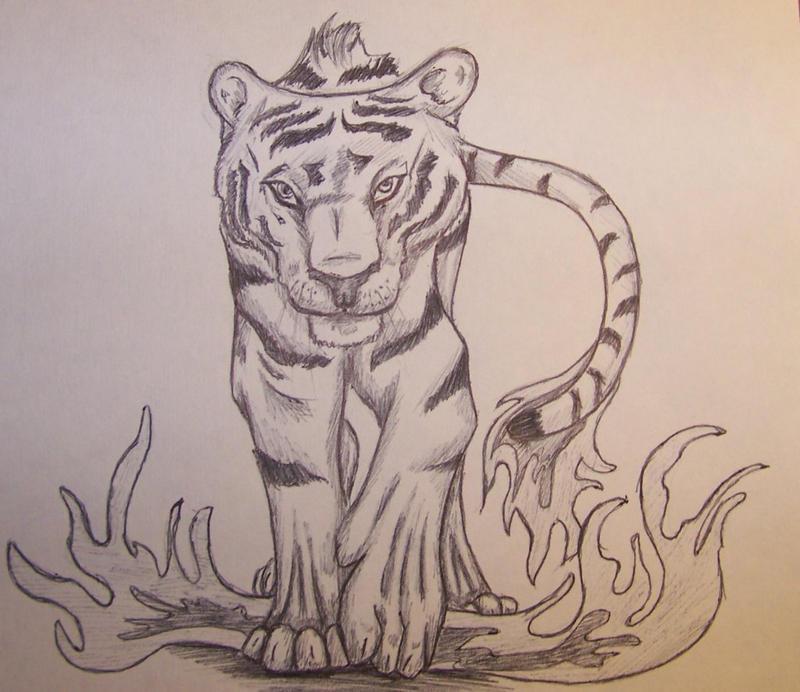 Tiger walking downhill tattoo - photo#4