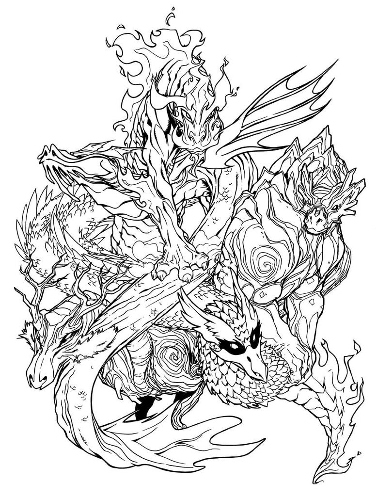Elemental dragons by udoncrew on deviantart Dragon coloring book for adults midnight edition
