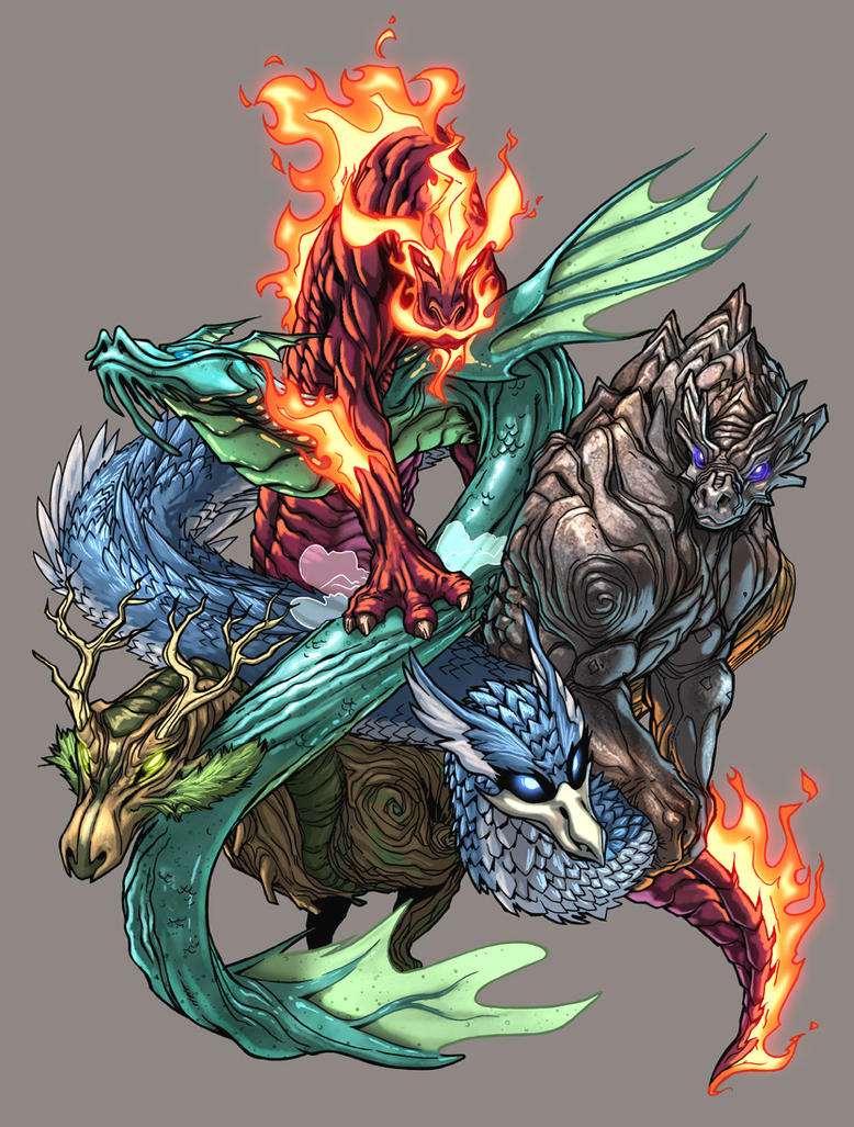 Five Elements Art : Elemental dragons color by udoncrew on deviantart