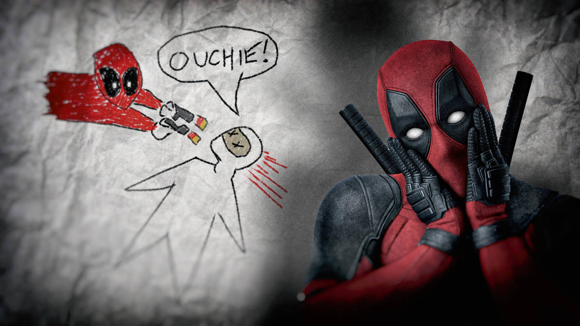 Deadpool movie wallpaper ouchie drawing by paintpot2