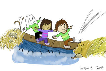 Chara, Frisk and Asriel: Log Crossing by CrackerHumps