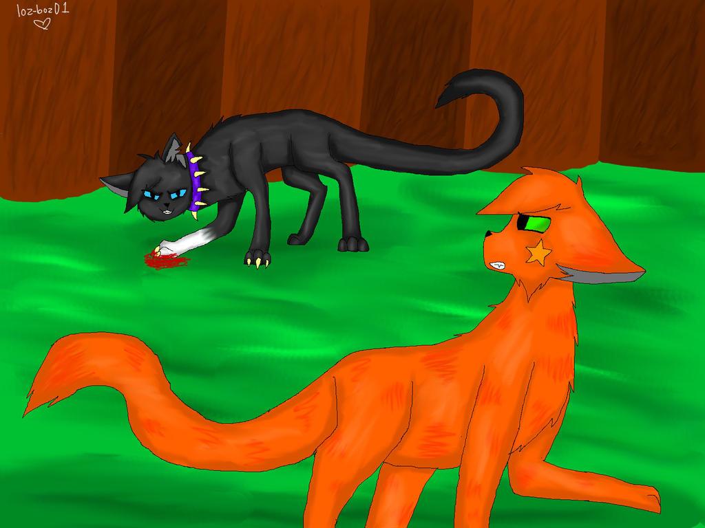 Warrior Cats Wallpaper Firestar And Scourge