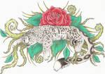 Rose Snow Leopard Tattoo