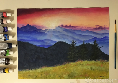 Mountains and fields  by AmanaArt