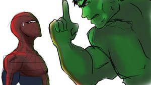 Web-Head and Hulk by Akari-Hikari