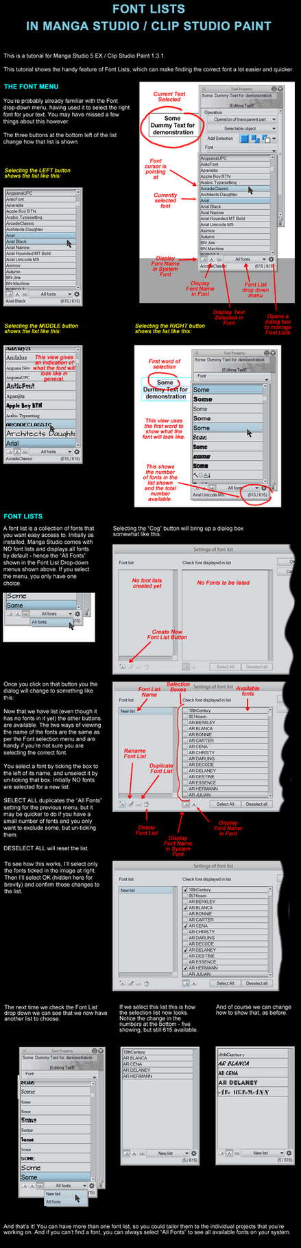 Font Lists in Manga Studio by LauraSeabrook