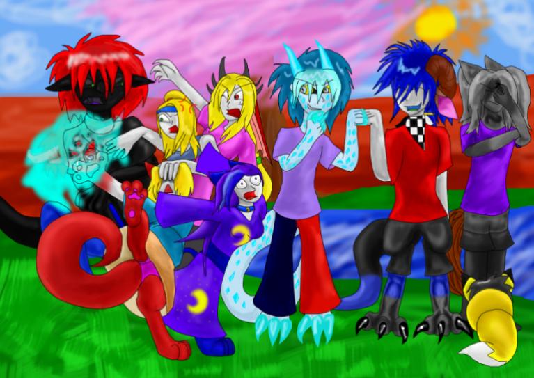 crazy family by ninjademontamer