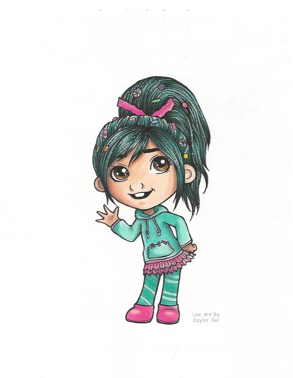 Line Art By Baylee Jae : Baylee jaes vanellope line art by prplstar on deviantart